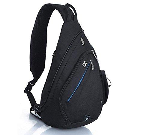 066c38dd49fd4 EGOGO Multifunktions Schultertasche Rucksack Crossbody Tasche Sling Tasche  Wandern Dackpack ein sollte Schultergurt für Männer und Frauen Black