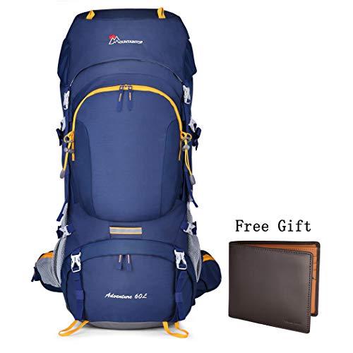 6e1327ac66132 MOUNTAINTOP 60+5L Erwachsene Trekkingrucksäck Wanderrucksack Rucksack für  Reisen Outdoor Klettern Camping mit RegenhülleBlau