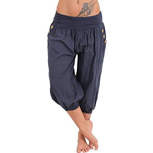 d522a09ca924e9 Yogahosen Kurze Damen Shorts Frauen Elastische Taille Boho Breites Bein  Sommer Yoga Lockere Hose Hohe Taille Capris